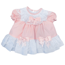 Baby Girls Pink Frilly Lace Dress
