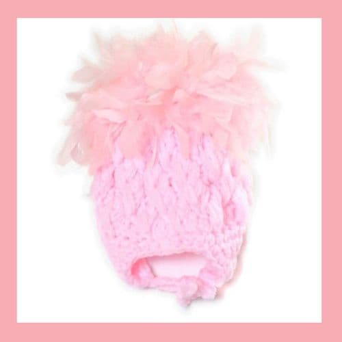 Baby Girls Pink Marabou Feathers Crochet Hat