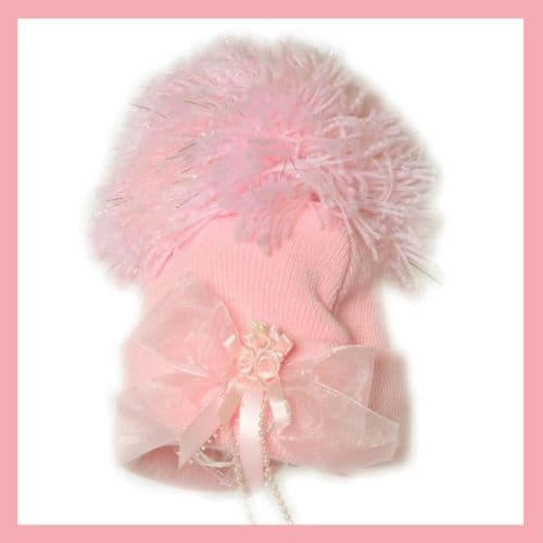 Baby Girls Pink Pom Pom Hat