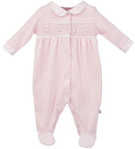 Baby Girls Pink Smocked Cotton Sleepsuit