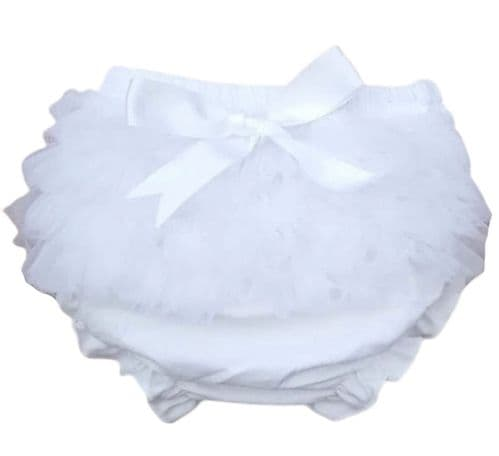 Baby Girls White Frilly Organza Bow Cotton Jam Pants
