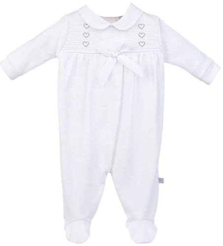 Baby Girls White Hearts Smocked Cotton Sleepsuit