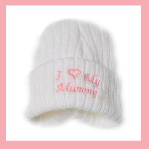Baby Girls White I Love My Mummy Hat