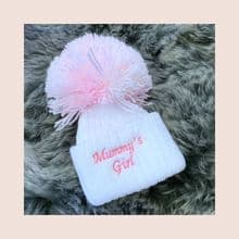 Baby Girls White Mummy's Girl Pom Pom Hat