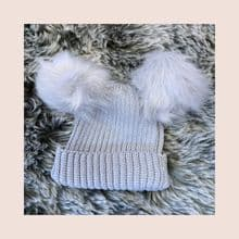 Baby/Toddler Grey Knitted Double Pom Pom Hat