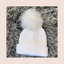 Baby/Toddler white faux fur Pom Pom hat