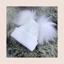 Baby/Toddler White Knitted Double Pom Pom Hat