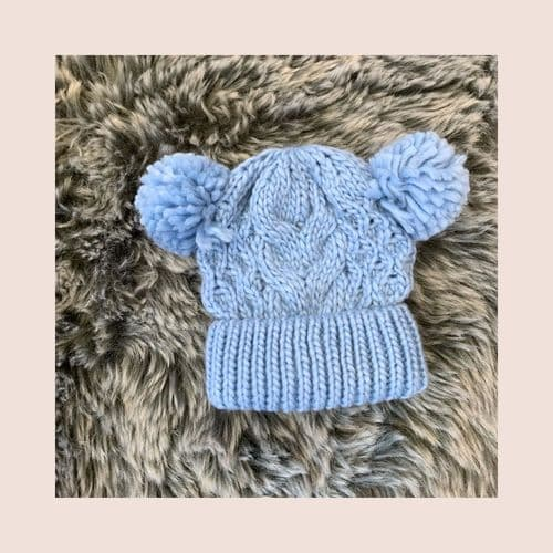 Boys Blue Knitted Cable Pom Pom Hat