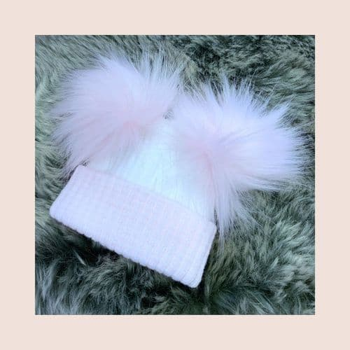 First Size White & Pink Double Pom Pom Hat