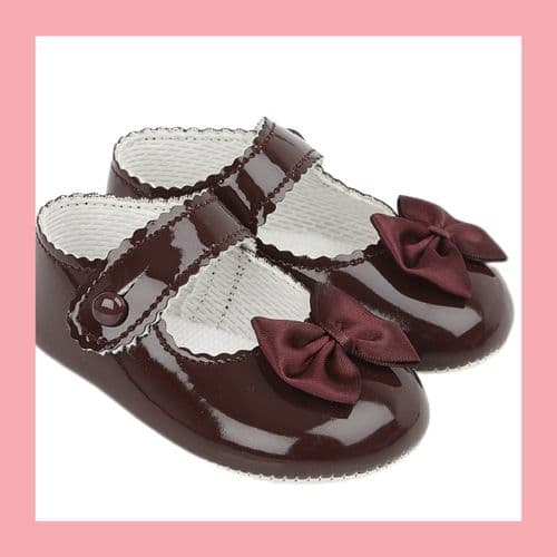 Girls Burgundy Patent Satin Bow Baypod Pram Shoes