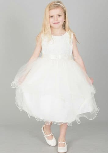 Girls Ivory Floral Tulle Dress