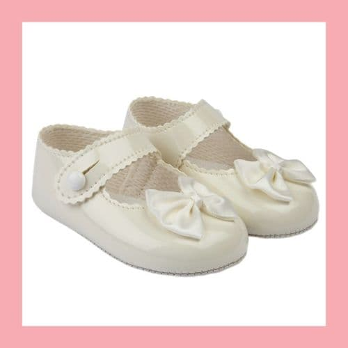 Girls Ivory Patent Satin Bow Baypod Pram Shoes