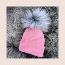 Girls Pink Girls Single Grey Pom Pom Hat