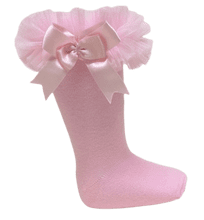 Girls Pink Spanish Tutu Knee Socks
