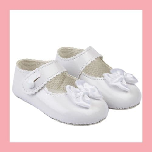 Girls White Patent Satin Bow Baypod Pram Shoes