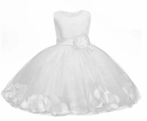 Girls White Satin Petal Dress