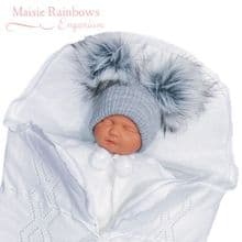 Grey Ribbed Grey Double Fur Pom Pom Hat