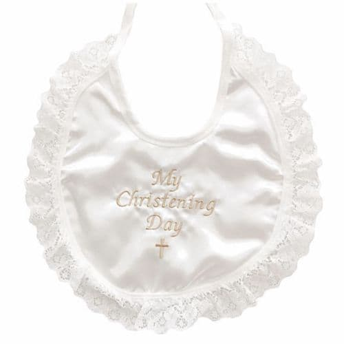 Ivory Satin  My Christening Day Bib