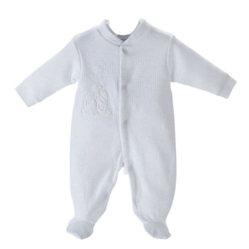 White Velour Rabbit & Star Sleepsuit