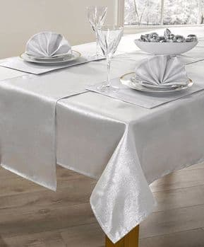 CHRISTMAS SILVER SHIMMER GLITTER METALLIC TABLECLOTH 52