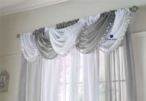 CRYSTAL SEQUIN SPARKLES BLING SILVER GREY JEWELLED GLITZY  VOILE CURTAIN SWAG/S