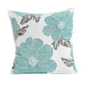 Luxury Soft Chenille Poppy Cushion Cover (Duck Egg) FREE POSTAGE