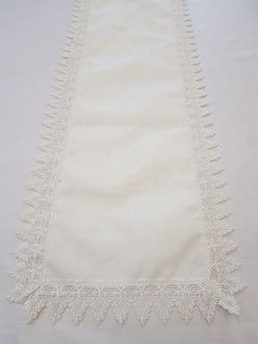MACRAME VINTAGE LACE EDGED WHITE DECORATIVE TABLE TOP RUNNER 16