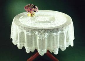 TRADITIONAL FLORAL CREAM LACE STAIN RELEASE TABLE CLOTH 60