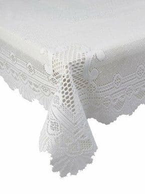 WHITE HEAVY LACE ROSE SCALLOP STAIN RELEASE TABLE CLOTH 60