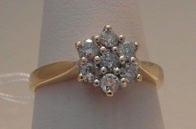 10F VINTAGE LADIES 18CT GOLD 1/2 CARAT DIAMOND CLUSTER RING SIZE N 1/2