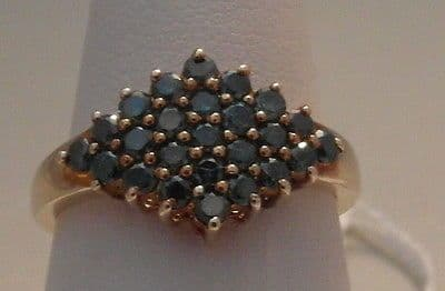 17F LADIES 9CT GOLD BLUE SAPPHIRE CLUSTER RING SIZE O 1/2