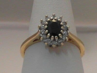 288F VINTAGE LADIES 9CT GOLD SAPPHIRE AND DIAMOND CLUSTER RING SIZE L 1/2