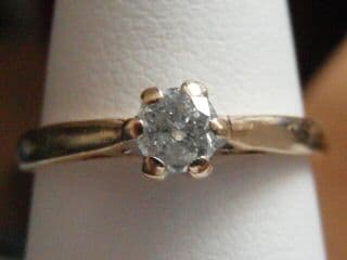 294E LADIES VINTAGE 9CT GOLD 0.25 CARAT DIAMOND SOLITAIRE RING SIZE N 1/2