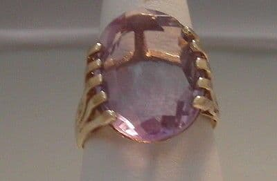 40F VINTAGE LADIES 9CT GOLD AMETHYST SOLITAIRE RING SIZE J 1/2