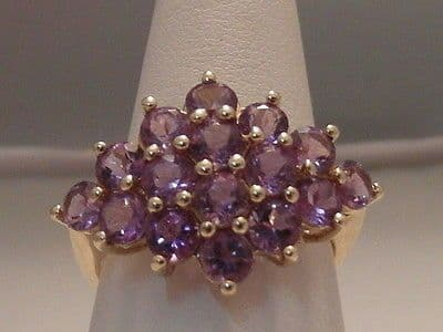 444F VINTAGE LADIES 9CT GOLD AMETHYST CLUSTER RING SIZE M 1/2