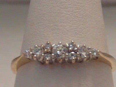 456F VINTAGE LADIES 14CT YELLOW AND WHITE GOLD ZIRCONIA BAND RING SIZE SIZE Q1/2