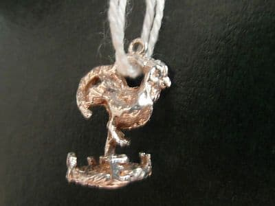 48A SOLID SILVER WEATHER COCK CHARM/PENDANT WITH TURNING COCKREL