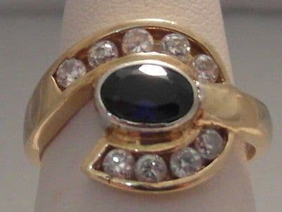 554F VINTAGE LADIES 9CT GOLD SAPPHIRE AND ZIRCONIA DRESS RING SIZE J