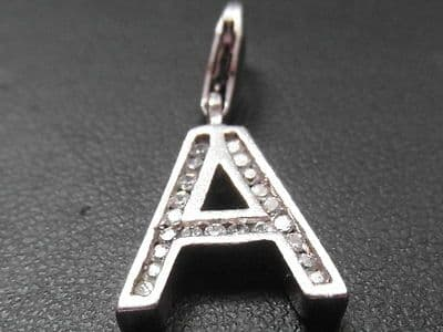 570E VINTAGE STERLING SILVER AND ZIRCONIA LETTER 'A' CHARM/PENDANT