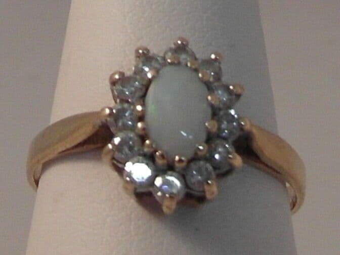 599F LADIES 9CT GOLD OPAL AND ZIRCONIA CLUSTER RING SIZE K 1/2