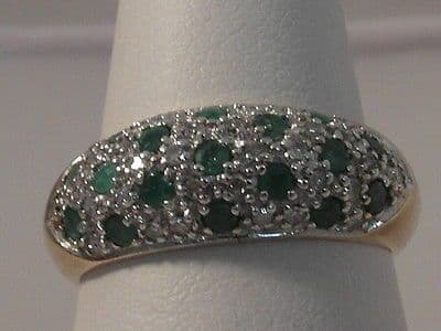 645F LADIES 9CT GOLD EMERALD AND DIAMOND RING SIZE M 1/2