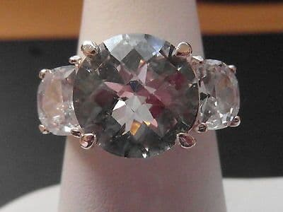 695E LADIES VINTAGE STERLING SILVER ZIRCONIA COCKTAIL RING SIZE O