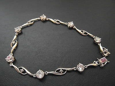 794E VINTAGE LADIES 9CT WHITE GOLD ZIRCONIA BRACELET 7.5 INCH