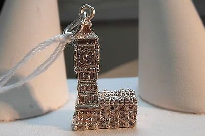 918E VINTAGE LADIES/CHILDRENS STERLING SILVER BIG BEN CHARM/PENDANT