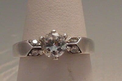 964E LADIES STERLING SILVER ZIRCONIA SOLITAIRE WITH ACCENTS RING SIZE N