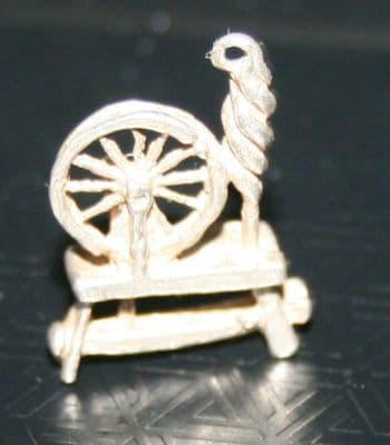 F49 SOLID SILVER OLD STYLE SPINNING JENNY WHEEL MACHINE CHARM / PENDANT