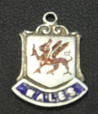F88 SOLID SILVER THE COATS OF ARMS OR CREST OF WALES WITH A RED DRAGON CHARM
