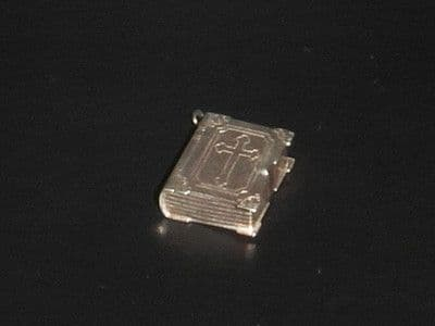 K97 SOLID SILVER BOOK WITH A CROSS ON THE FRONT COVER CHARM