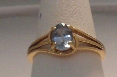 Q112 LADIES 18CT GOLD 1.00CT CLEAR BLUE SAPPHIRE SOLITAIRE RING SIZE M 1/2