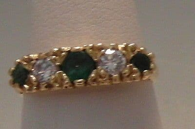 Q125 VINTAGE LADIES 18CT GOLD EMERALD AND 0.25CT DIAMOND CLUSTER RING SIZE M
